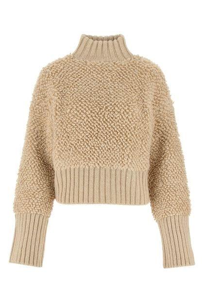 Beige wool blend oversize sweatshirt