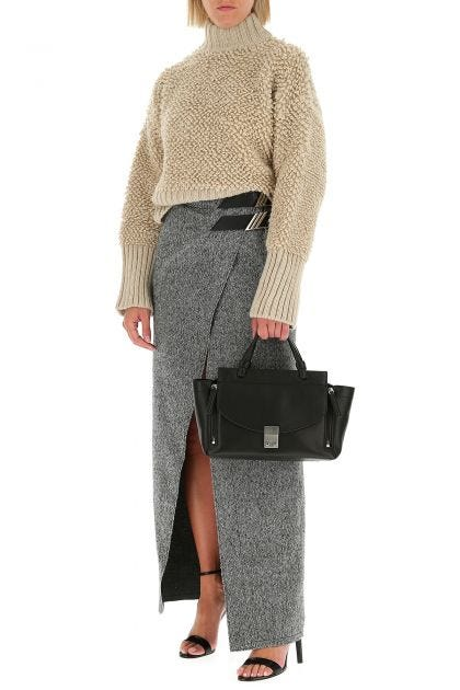 Melange grey wool skirt