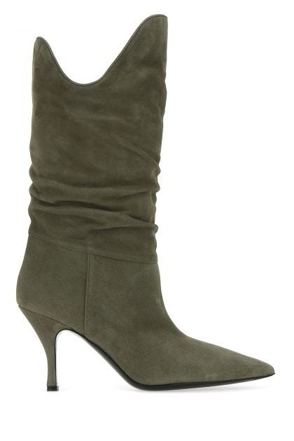 Army green suede Tate boots