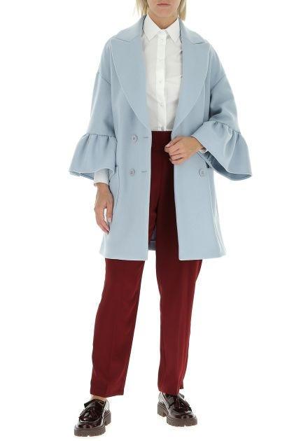 Pastel light blue wool blend coat