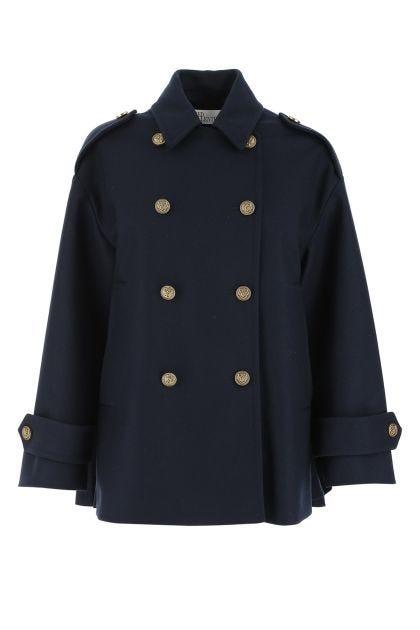 Navy blue wool blend coat