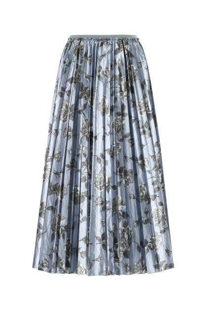 Printed metallized fiber blend skirt