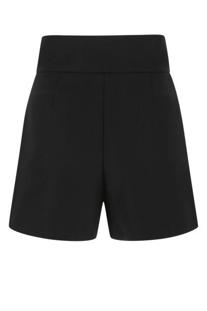 Black wool blend shorts