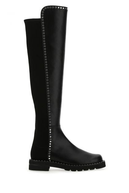 Black leather 5050 Lift over-the-knee boots