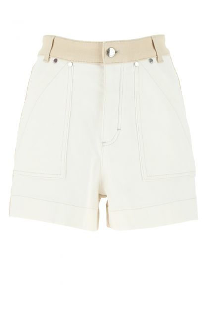 Two-tone stretch denim shorts