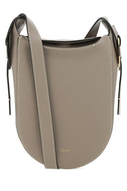 Dove grey leather crossbody bag