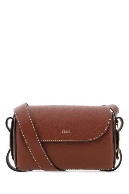 Caramel leather mini Derryl crossbody bag
