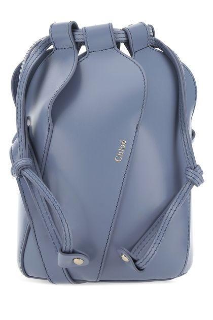 Powder blue leather mini Tulip crossbody bag
