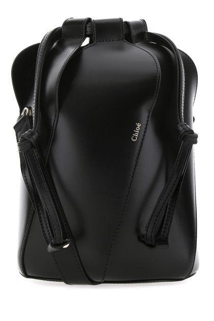 Black leather small Tulip crossbody bag
