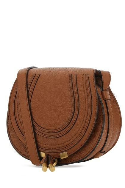 Caramel leather mini Marcie crossbody bag
