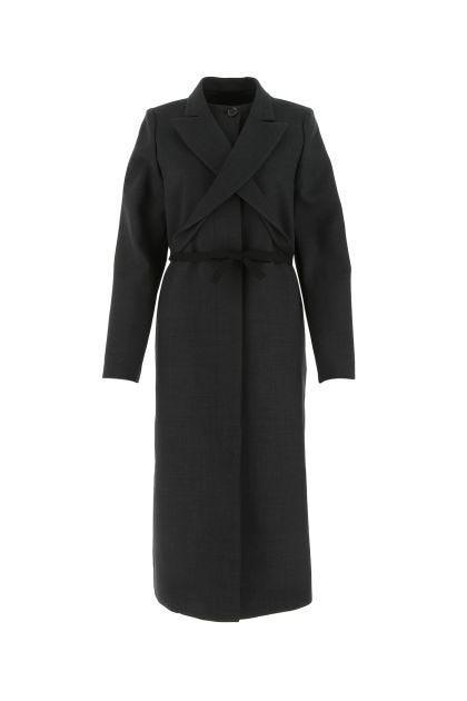 Dark grey stretch polyester blend coat