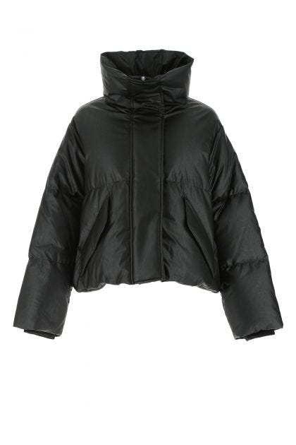 Black synthetic leather oversize down jacket