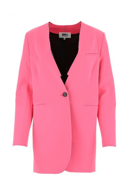 Fluo pink stretch polyester blend oversize blazer