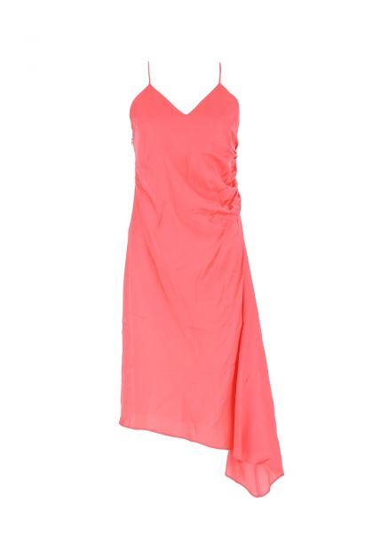 Fluo pink satin slip dress