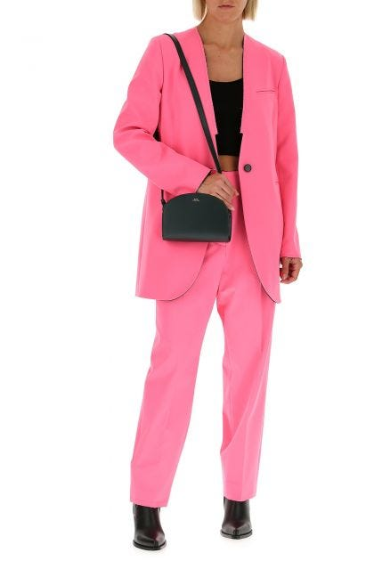 Fluo pink stretch polyester blend pant