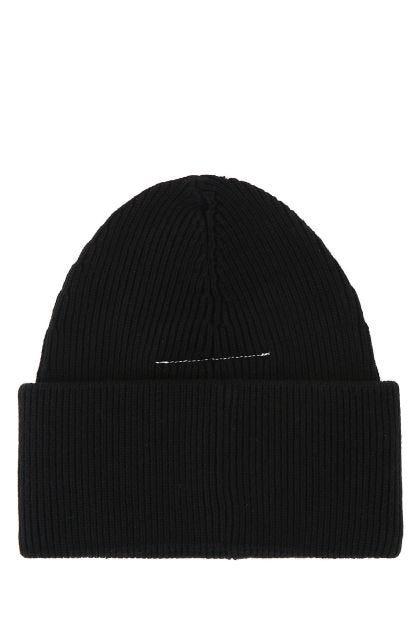 Black cotton blend beanie hat