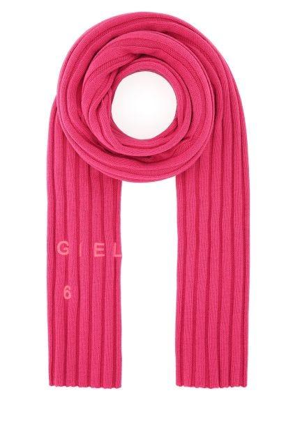 Fuchsia cotton blend scarf