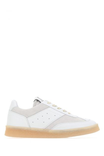 Two-tone leather and suede sneakers