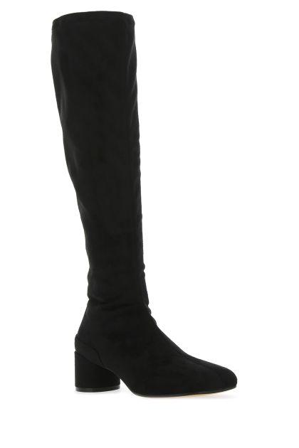 Black fabric knee boots