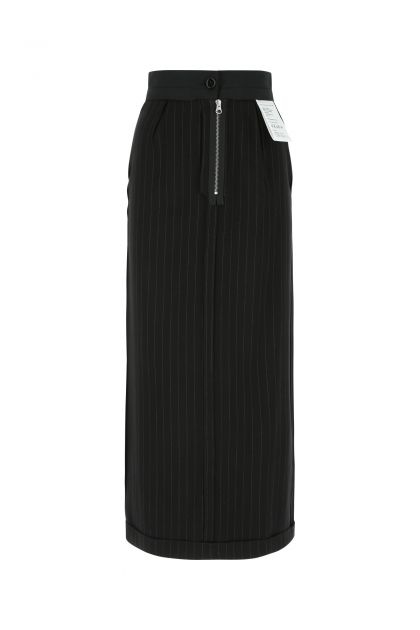 Embroidered stretch lyocell blend skirt