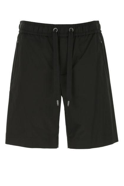 Black stretch cotton bermuda shorts