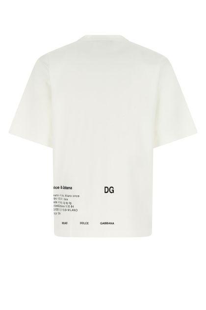 White stretch cotton blend oversize t-shirt