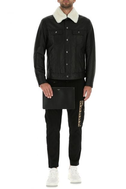Black stretch cotton cargo pant