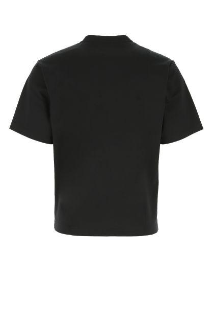 Black stretch cotton blend t-shirt