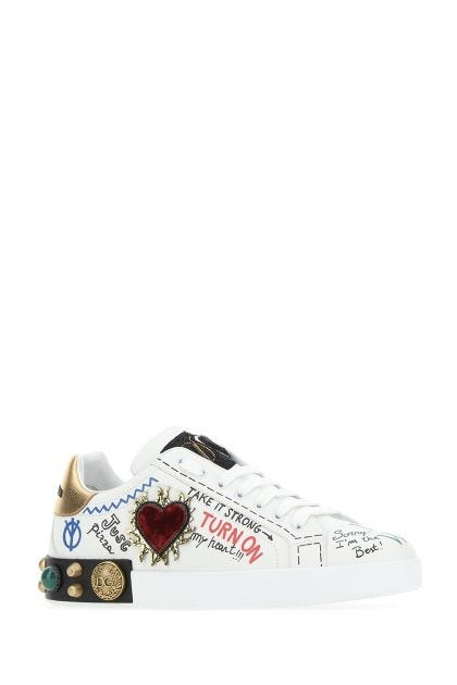 Embellished leather Portofino sneakers