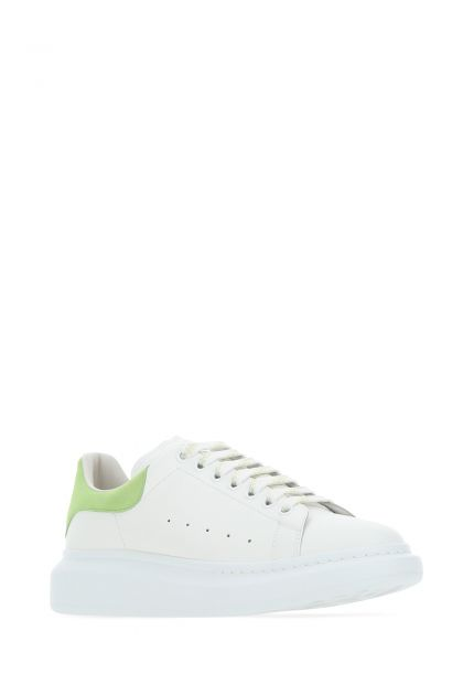 White leather Larry sneakers with light green leather heel