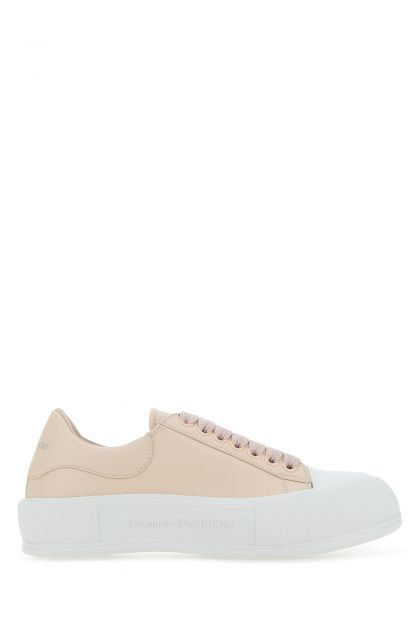 Pastel pink leather sneakers