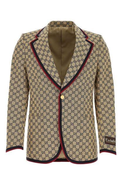 Embroidered cotton blend blazer