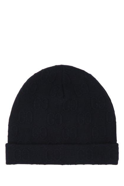 Midnight blue stretch wool beanie hat