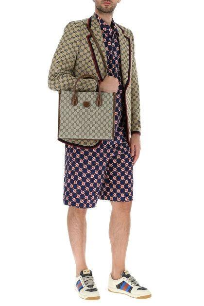 GG Supreme fabric and leather small handbag