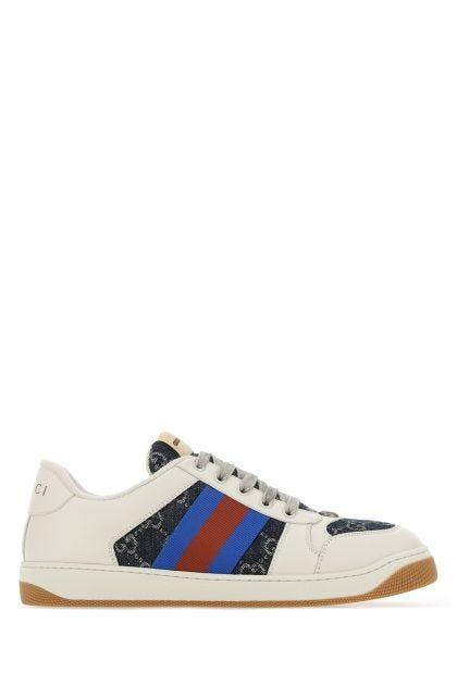 Multicolor leather and denim Screener sneakers
