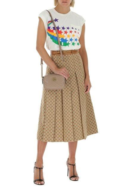 Embroidered linen blend skirt