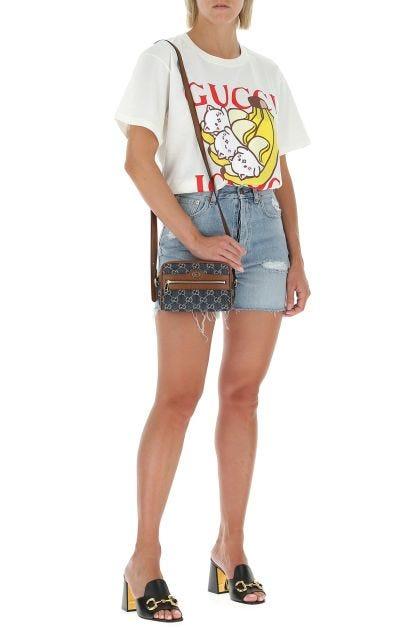 Embroidered denim mini Ophidia GG crossbody bag