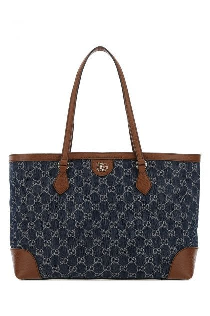 Embroidered denim Ophidia shopping bag