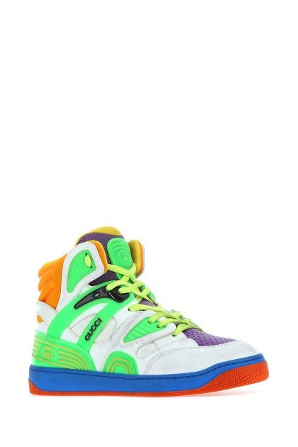 Multicolor synthetic leather and fabric Gucci Basket sneakers