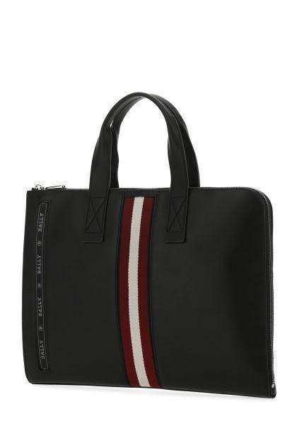 Black leather Henri brief case
