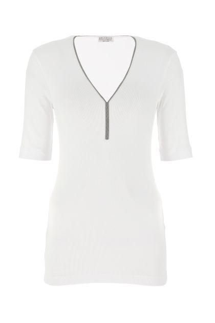White cotton stretch t-shirt