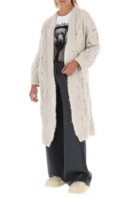 Ivory wool blend long cardigan