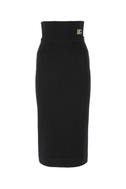 Black stretch viscose blend skirt