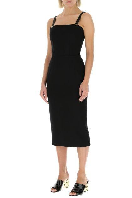 Black stretch viscose blend sheath dress