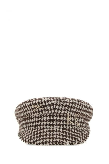 Embroidered wool blend hat
