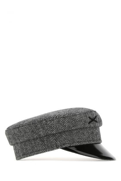 Embroidered wool baker boy hat