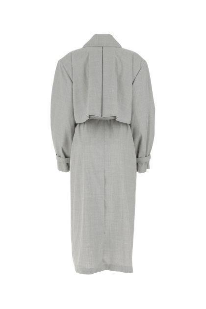 Melange grey wool oversize trench coat