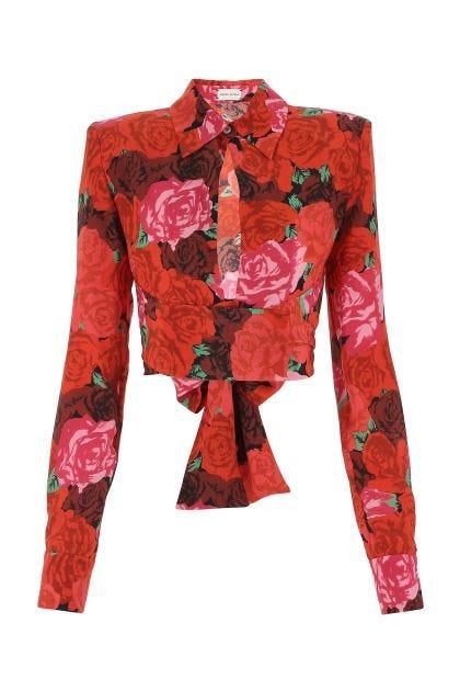 Printed silk blouse