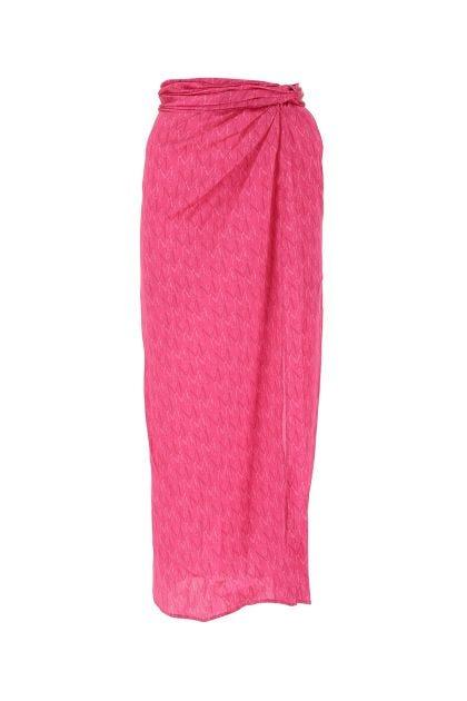 Printed satin skirt