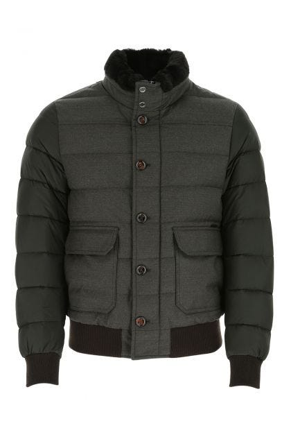 Dark green nylon and wool blend Fantoni down jacket